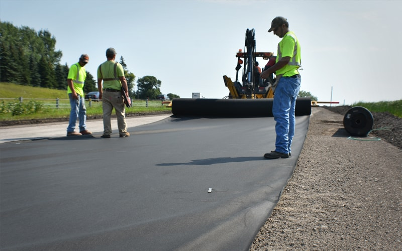 Non-woven Geotextile Fabric being installed